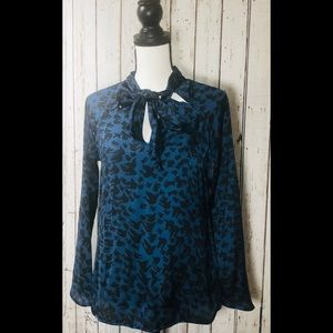 Forenza Black and Blue Bow Blouse